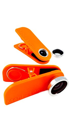 Mobi-Lens Combo Pack, Wide+Macro & Fisheye, Smartphone Lens For Iphone 6, Samsung Galaxy 5 Orange