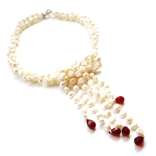 White Baroque 17 Inch Three Strand Pearl Necklace; 5.5-6.5 mm Width Uneven Pearls with Red Gemstones