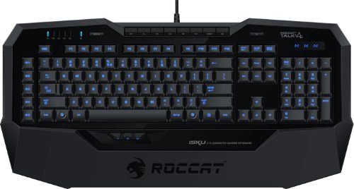 Roccat Isku Blue Key Illuminated Gaming Keyboard, Black