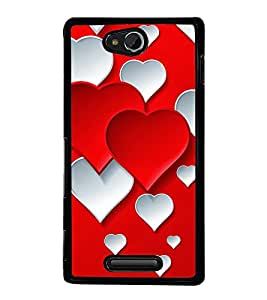 Red White Hearts 2D Hard Polycarbonate Designer Back Case Cover for Sony Xperia C :: Sony Xperia C HSPA+ C2305
