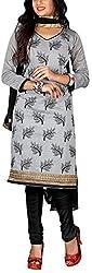 Fabiola Trendz Women's Cotton Silk Unstitched Dress Material (Grey)