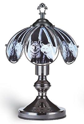 Ore International K320 Glass Wolf Scene Touch Lamp, Satin Nickel