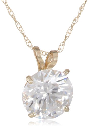 Madison Avenue Collection 10k Yellow Gold Swarovski Cubic Zirconia Solitaire Pendant Necklace (2 cttw), 18