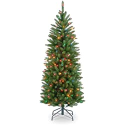 National Tree 4-1/2-Foot Prelit Artificial Kingswood Fir Pencil Tree, 150 Multi-Colored Lights