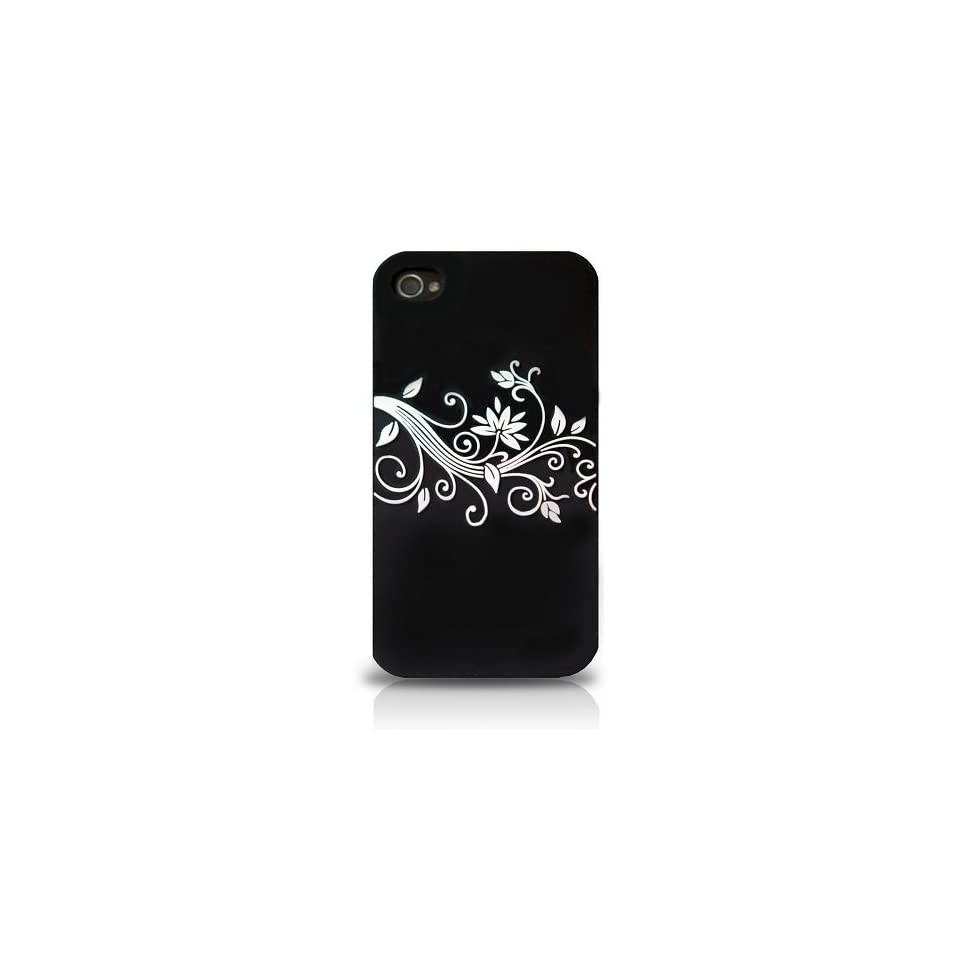 iPhone 4S Silicon Skin Cover Case Black White Ivy Embossed 4S/4 Verizon/AT&T/Sprint  EZcapes Retail Packaging