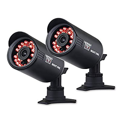 Night Owl Security CAM-2PK-650 Indoor/Outdoor 650 TVL Security Bullet Camera, 2 Pack (Black)