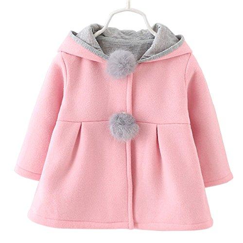 Baby Girls Toddler Kids Winter Big Ears Hoodie Jackets Outerwear Coats(Pink,9-12 Months,M/6)