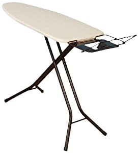 Household Essentials Fibertech Mega Wide Top Bronze Finish 4-Leg Ironing Board with Natural Cotton Cover