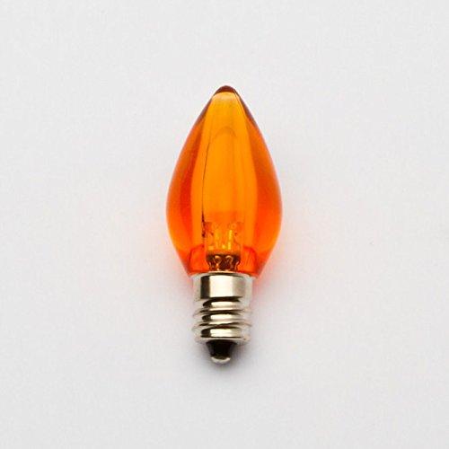 C7 Orange Led Bulb - Smooth Lens Orange Transparent C7 Replacement Bulb