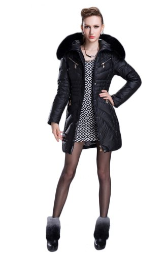 Queenshiny Women's Down Coat Jacket with Huge Hood and 100% Raccoon Fur Collar -Black-S(4-6)