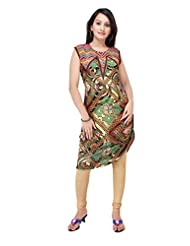 ADS Womens Digital Print Brown Kurti/Tunic - B00NPQAY84
