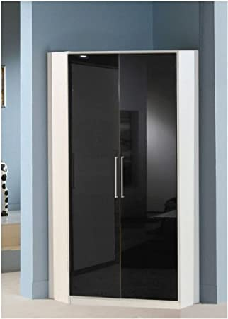 Milano Black Gloss and White 2 Door Wardrobe