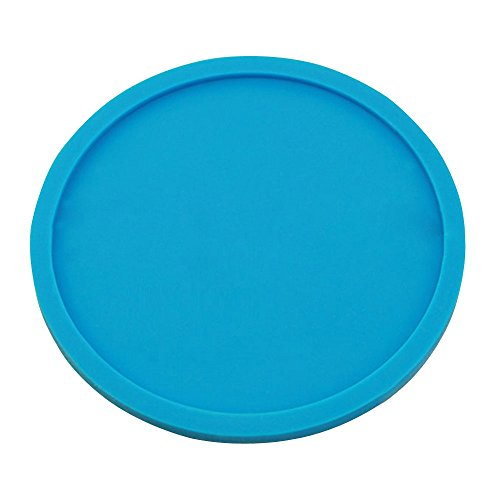 Kaimao Round Silicone Coaster Cup Coffee Drinks Mat Heat Resistant and Non-slip with Lip without any Leakage 10 x0.5cm---Blue