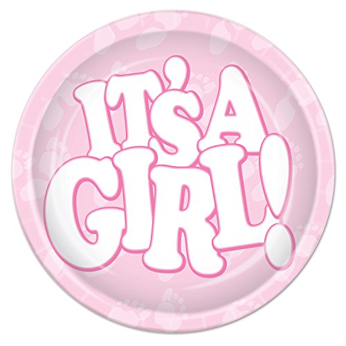 Beistle It's A Girl Plates, 9-Inch, Pink/White