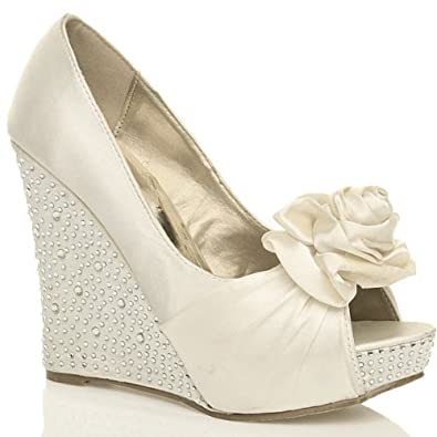 womens wedding bridal wedge platform prom evening shoes