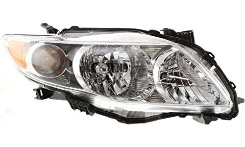 Evan-Fischer EVA13572047822 New Direct Fit Headlight Head Lamp Composite Clear Lens Chrome Interior Halogen With Bulb(s) Passenger Side Replaces OE# 8111002670 and Partslink# TO2503182 (2009 Corolla S Headlight Assembly compare prices)