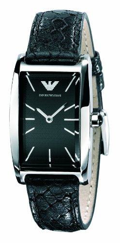 Emporio Armani Ladies Leather Black Croc Strap watch with Black Dial