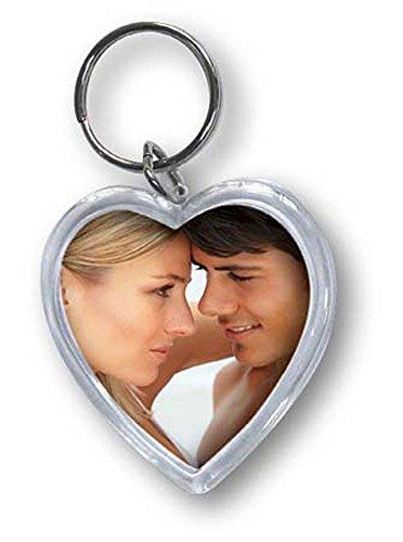 ZEP Acryl Foto Schlüsselanhänger mit Schlüsselring, in Herz Form, 4 x 3,8 cm