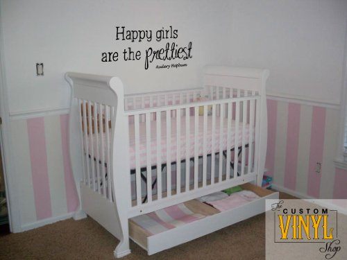 Audrey Hepburn Happy Girls Are the Prettiest - Little Girls - Nursery Vinyl Wall Art Decal Stickers Decor Graphics
