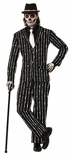 Halloween Skeleton Pin Striped Suit Costume Adult Mens Bones Black White Std XL