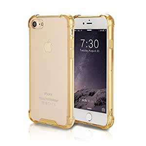 """iPhone 7 Case, Crystal Clear Hard PC Back TPU Bumper [Drop Protection] Raised Bezels Full-body Protective Cover For iPhone 7 2016 â€"""" Gold"""