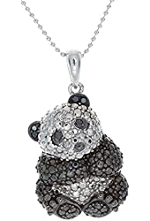 Victoria Kay 1/10ct Black and White Diamond Panda Pendant in Black and White Sterling Silver (J-K, I2-I3)