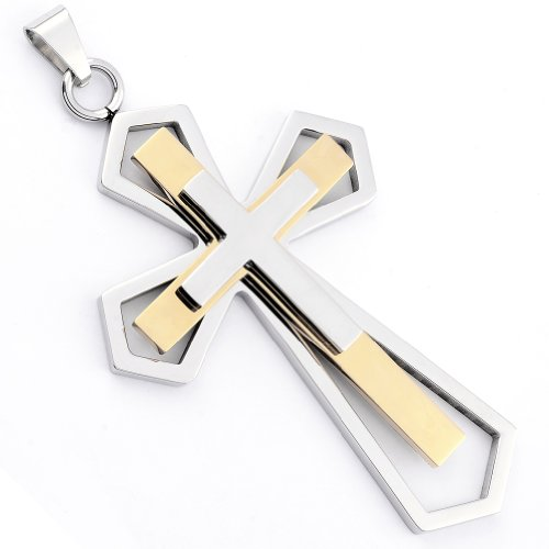 Stainless Steel Cross Pendant Steel And Gold Color 2-Tone