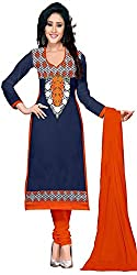 Yashvi Arts Women's Clothing Designer Party Wear Low Price Sale Offer Dark Blue Color Cotton Embroidered Free Size Salwar Kameez Suit Dress Material