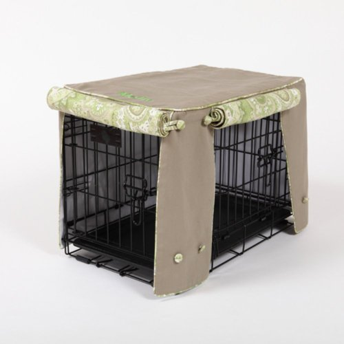Cape Cod Khaki With Green Tea Cording Double Door Crate Cover - Extra Xlarge