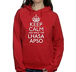 Keep calm and walk the Lhasa apso womens hooded top pet dog gift ladies Red hoodie white print