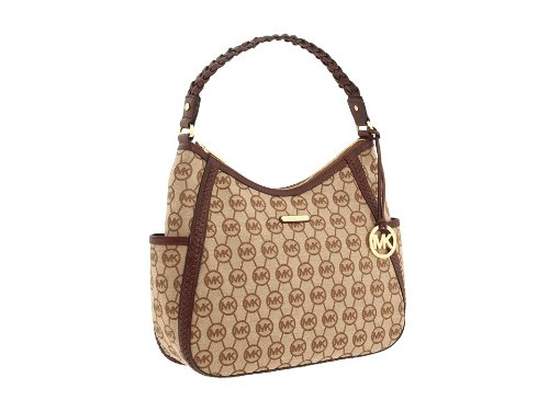 MICHAEL Michael Kors Monogram Whipped Large Top Zip Hobo Hobo Handbags - BG/Ebony/Mocha