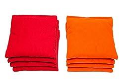 Weather Resistant Cornhole Bags (Set of 8) by SC Cornhole (Red/Orange)