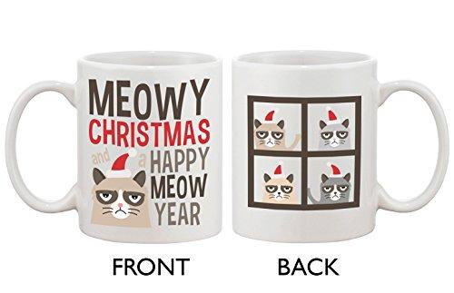 Cute Grumpy Cat Holiday Coffee Mug - Meowy Christmas And A Happy Meow Year