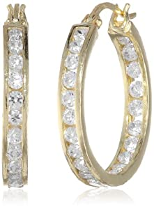 Goldtone Finish Silver Cubic Zirconia Medium Round Hoop Earrings