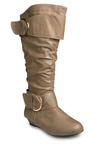 Twisted Women's Tara Wide Calf Wedge Fashion Boot - TAUPE , Size 9
