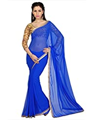Designersareez Women Royal Blue Faux Georgette Saree With Unstitched Blouse (1618)