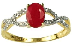 Bague Femme - Or jaune (9 cts) 1.35 Gr - Diamant - Rubis - T 54