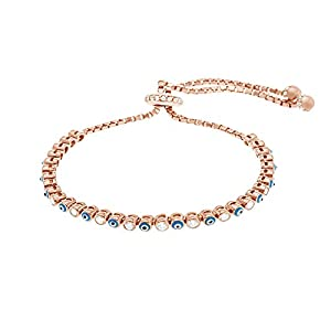 Silver Rose Gold or Gold Sterling Silver Cubic Zirconia Enamel Evil Eye Slider Tennis Bracelet (Rose Gold)