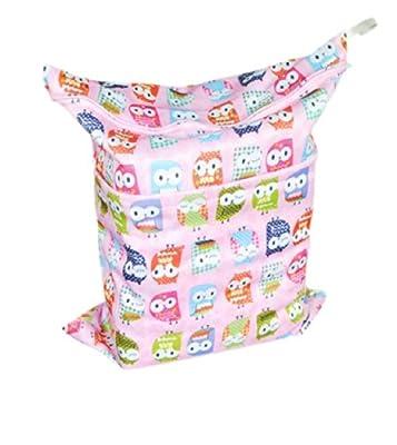 Print Baby Cloth Diaper Waterproof Zippered Wet/Dry Bags, Pink Owls