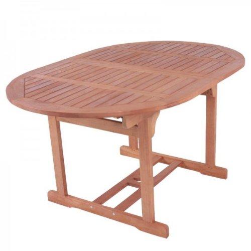 Massiver Gartentisch, Ausziehtisch 150-200cm oval, aus hochwertigem Bankirai Hartholz, geölt online kaufen