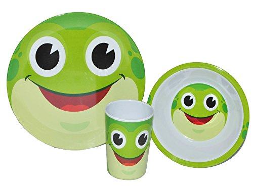 3-tlg-Geschirrset-Frosch-aus-Melamin-Trinkbecher-Teller-Mslischale-Kindergeschirr-Frhstcksset-Frsche-Tiere-fr-Mdchen-Jungen