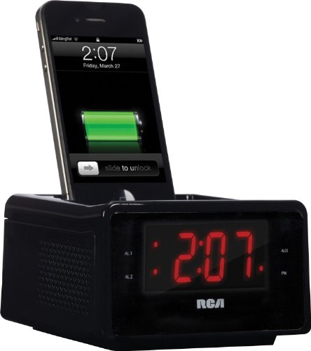 rca rc127i high quality radio with alarm clock and iphone dock x phone gadgets. Black Bedroom Furniture Sets. Home Design Ideas