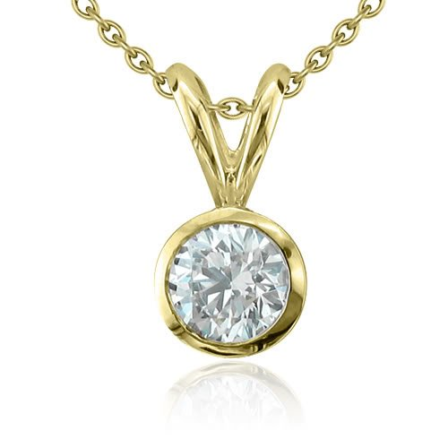 14k Yellow Gold Bezel Solitaire Natural Diamond