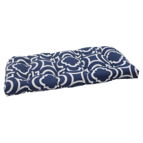 Pillow Perfect Indoor/Outdoor Carmody Wicker Loveseat Cushion, Navy picture