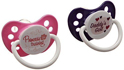Ulubulu Pacifiers for Girls, Princess in Training and Daddy's Girl, 6-18 Months