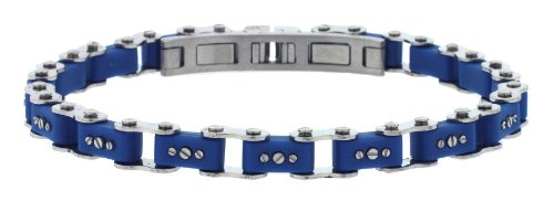 Unisex Designer Stainless Steel Blue Bicycle Link Bracelet 7