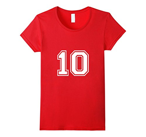 Women's Number 10 Shirt Medium Red (Numbered Shirts compare prices)