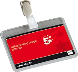 5 Star Name Badges Self Laminating Landscape with Plastic Clip 54x90mm [Pack of 25]