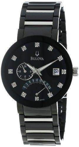 Bulova Men's 98D109 Diamond Accented Black Dial Bracelet Watch