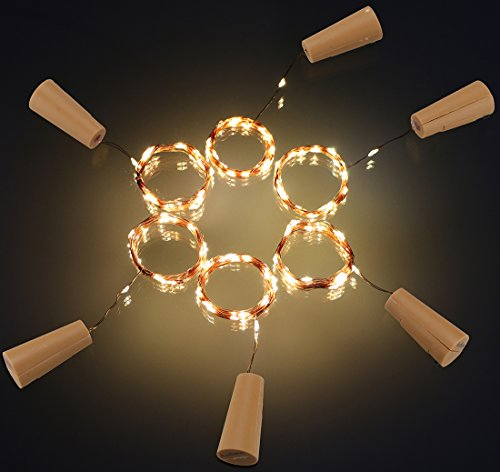 AnSaw 20-LEDS 6 Pack Bottle Lights Pro Spark I Cork Shaped Battery Strip Light Décor Rope Lamp For Seasonal Decorative Christmas Holiday (warm white) (Warm Wine Glass compare prices)